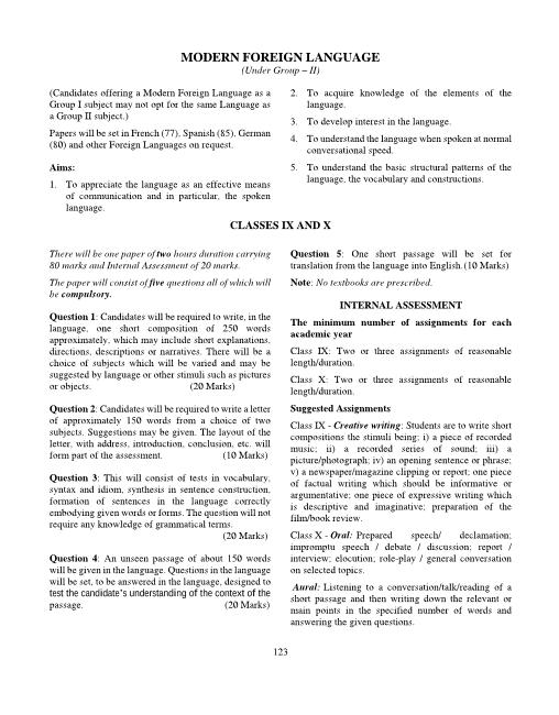 ICSE Class 9 Modern Foreign Language Syllabus Group-2 part-1