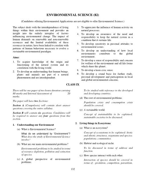 ICSE Class 9 Environmental Science Syllabus part-1
