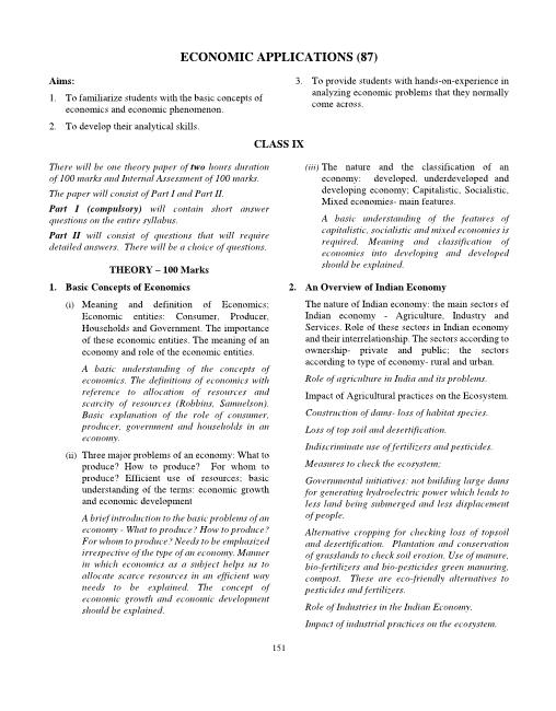 ICSE Class 9 Economic Applications Syllabus part-1