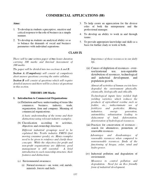 ICSE Class 9 Commercial Applications Syllabus part-1