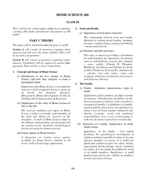 ICSE Class 9 Home Science Syllabus part-1