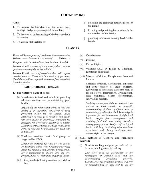 ICSE Class 9 Cookery Syllabus part-1