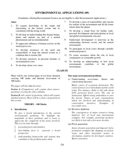 ICSE Class 9 Environmental Applications Syllabus part-1