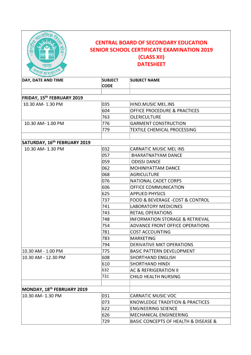 CBSE Class 12 Date Sheet part-1