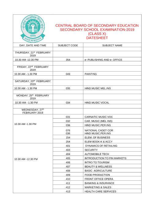 CBSE Class 10 Date Sheet part-1
