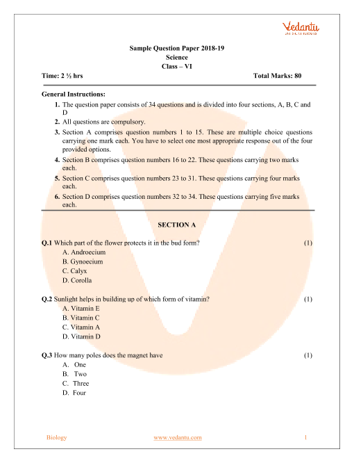 CBSE Sample Paper Class 6th-Science part-1