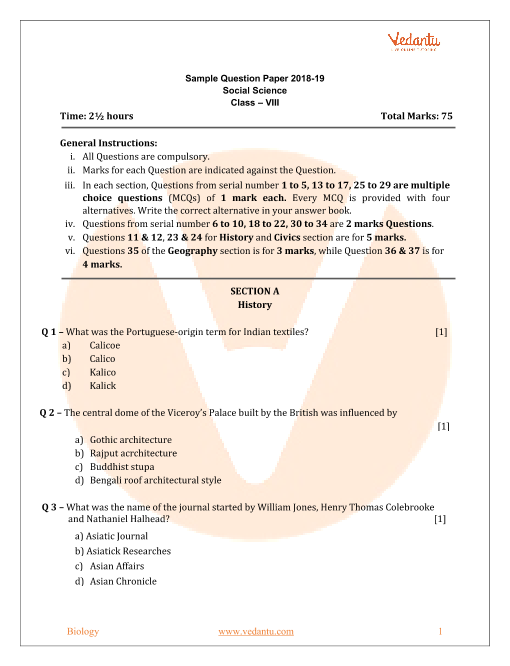 Cbse Sample Paper For Class 8 Social Science With Solutions Mock