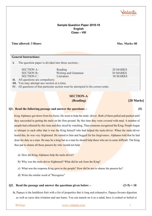 CBSE Sample Paper Class 8th-English part-1