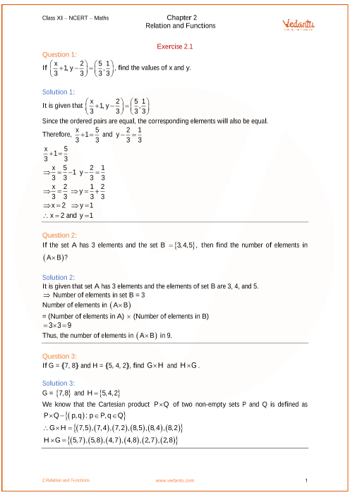 Chapter 2 - Relation and Functions part-1