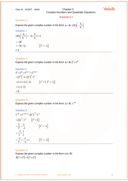 Chapter 5 - Complex Numbers and Quadratic Equation part-1
