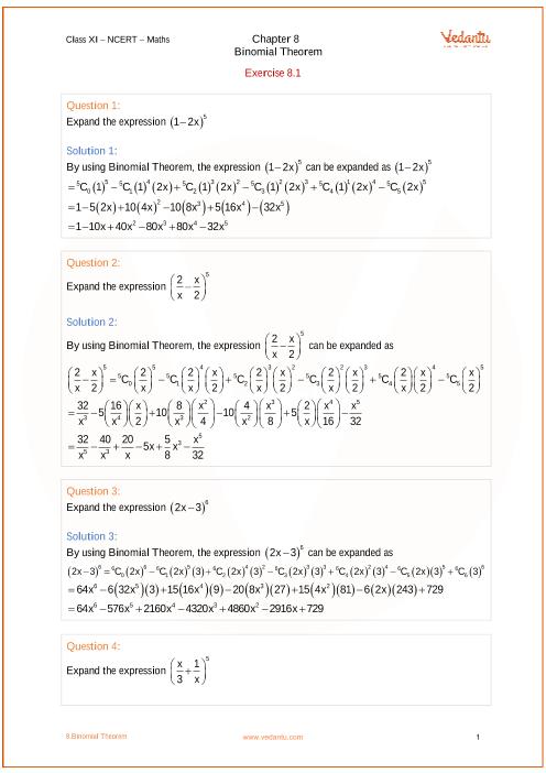 Chapter 8 - Binomial Theorem part-1