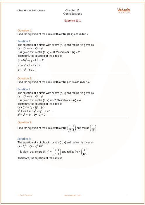 Chapter 11 - Conic Sections part-1