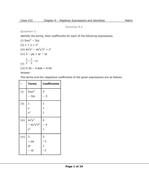 NCERT Solutions for Class 8 Maths Chapter 9 part-1