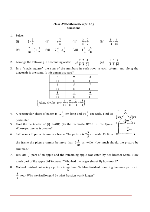 NCERT Solutions for Class 7 Maths Chapter 2 part-1