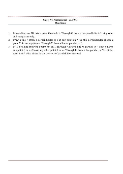 NCERT Solutions for Class 7 Maths Chapter 10 part-1