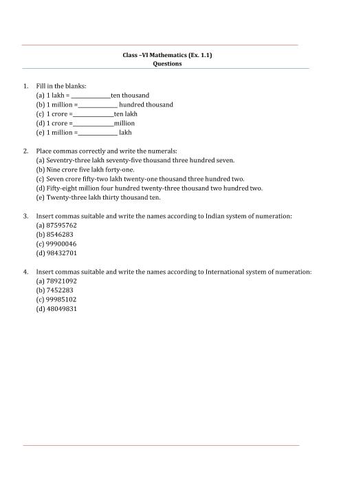 NCERT Solutions for Class 6 Maths Chapter 1 part-1