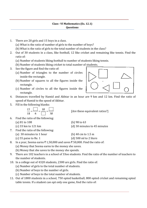 NCERT Solutions for Class 6 Maths Chapter 12 part-1