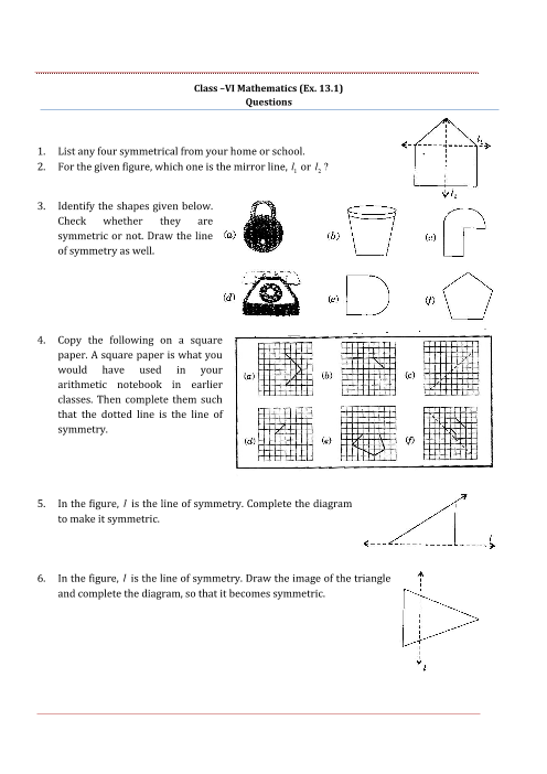 NCERT Solutions for Class 6 Maths Chapter 13 part-1