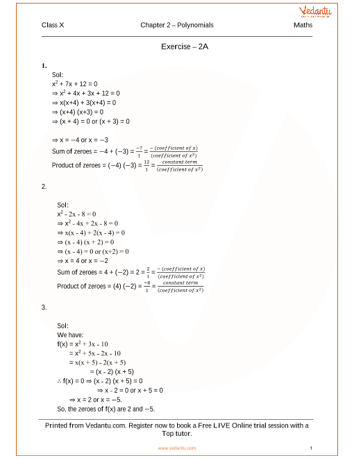 RS Aggarwal Solutions for Class 10 Chapter 2 part-1