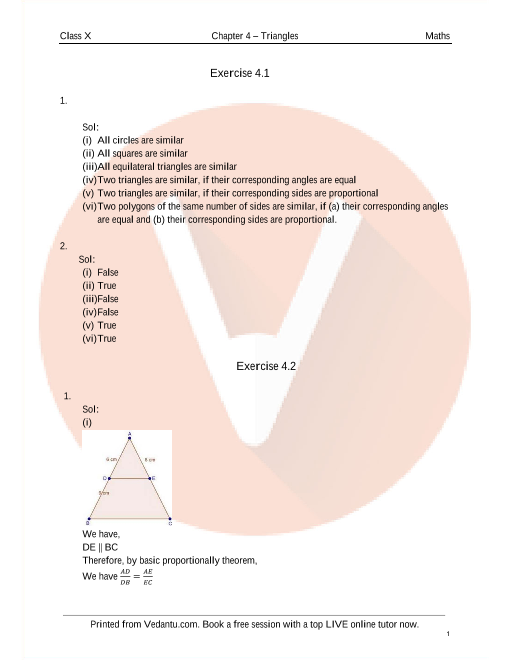 RD Sharma Class 10 Solutions Chapter 4 Triangles part-1