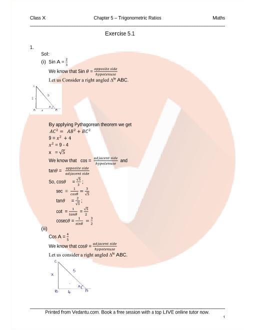 RD Sharma Class 10 Solutions Chapter 5 Trigonometric Ratios part-1