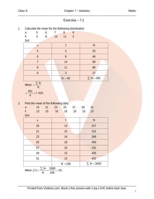 RD Sharma Class 10 Solutions Chapter 7 Statistics part-1