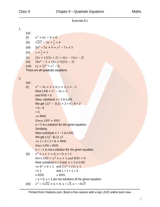RD Sharma Class 10 Solutions Chapter 8 Quadratic Equation part-1