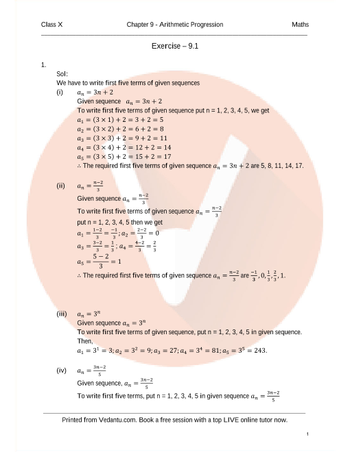 RD Sharma Class 10 Solutions Chapter 9 Arithmetic Progression part-1
