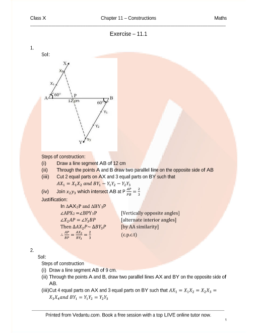 RD Sharma Class 10 Solutions Chapter 11 Constructions part-1