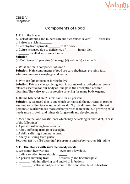 2. Components of food part-1