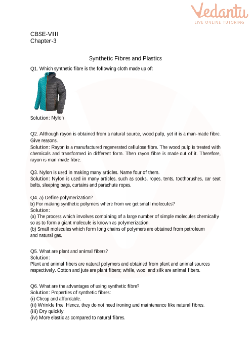 3. Synthetic Fibres and Plastics part-1